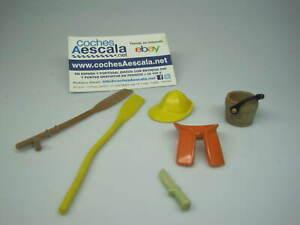 Playmobil Famobil REF 014 lote pescador chaleco sombrero remo cubo madera