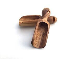 Salzschaufel 9 cm Gewürzschaufel Holzschaufel handgefertigt aus Olievenholz