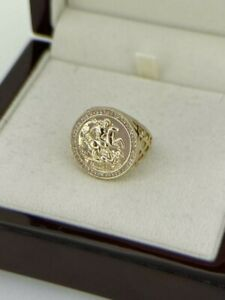 St George Gold gf Ring with Stones Half Sovereign Chunky Adjustable Mens Boys