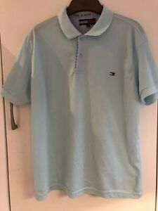 Mens Tommy Hilfiger Light Blue Polo Shirt , Size Large, Great Condition
