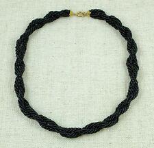Ancien collier en petites perles noires tressées Style art-déco Bijou fantaisie