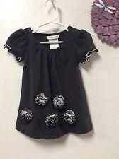 Baby girls dress BONNIE JEAN size 2T black flower bud adornment cap sleeves 147