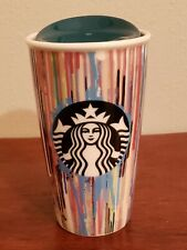 Starbucks Collectable Ceramic Paint Drips Double Wall Traveler 12 Fluid Ounces