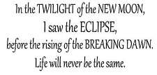 In the twilight of the new moon Vinyl Wall Artv Decal Stickers Decor Letters