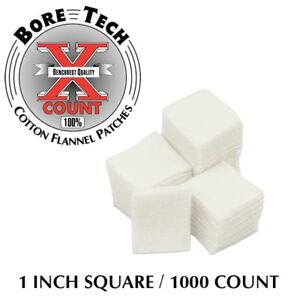 "1000 PACK BORE TECH X COUNT 1"" SQUARE COTTON FLANNEL PATCHES. .20 CAL. .22 RF."