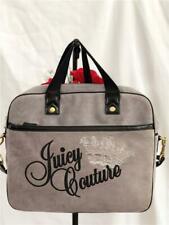 Juicy Couture Gray Velvet & Black Leather Laptop Bag with Detachable Long Strap