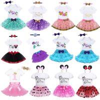 Baby Girls First 1st Birthday Romper+Tutu Skirt Dress Cake Smash Party Princess