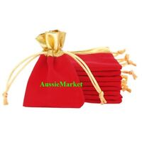 5 x velvet gift bags favour wedding party ring jewelry bridal organza red gold