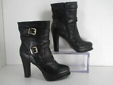 Madden Girl NITEFAL Black High Heel Boot w/ decorative Buckles Side Zip Size 9.5