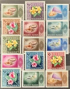 Maldive Islands. Birds, Flowers, & Shell. SG174/88. 1966 (1 June). MNH. #ETS25.
