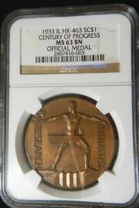 1933 Chicago Century of Progress Official Medal HK-463 NGC MS63 BN