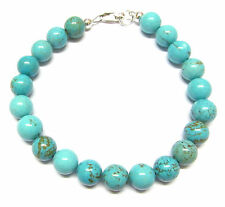 Sterling Silver Bracelet with Beautiful Turquoise Beads 7.5 inch