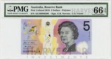 2016 AUSTRALIA $5 POLYMER BANKNOTE - CERTIFIED PMG 66 EPQ - GEM UNC - SN# AD-AF