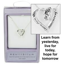 EquIlibrium Hope Silver Heart Plated Necklace Chain Gift Present Christmas 49742