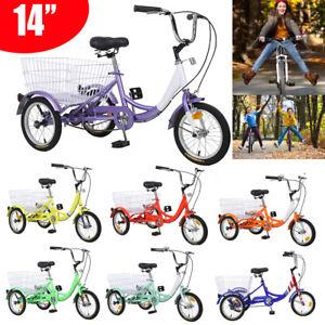 14'' 3 Wheels Trike Bike Steel Frame Bicycle Tricycle for Kids Teens Boys Girls