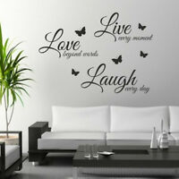 Live Laugh Love Wall art stickers quote wall decor walls decals word butterflies
