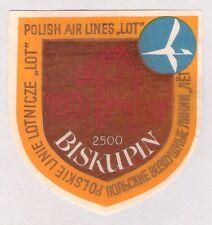 "ORIGINAL POLISH AIR LINES ""LOT"" AIRLINE LUGGAGE LABEL 2500 BISKUPIN"