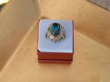Mojave Blue Turquoise with Topaz Droplets 14KYG and Platinum over Sterling Ring