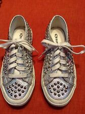 MOST AWESOME Superga Silver Lame Stud Metallic Spikes Sneakers Shoes $120 Sz 5