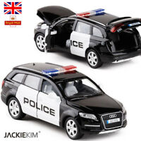 1/32 AUDI Q7 SUV Police Diecast Metal Car Model With Pull Back Flashing Car Toys