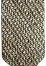 "Bergamo Men's Silk Tie 58.5"" X 4"" Black/White/Gold Geometric"