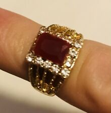 White Sapphire Gemstones Ring Size 5.5Us/Kuk Gorgeous 1970's 18K Gold Red Ruby &