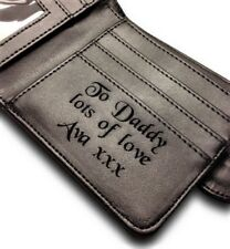 Men's Personalised Black Leather Wallet Dad Daddy Grandad Son Brother Uncle Gift