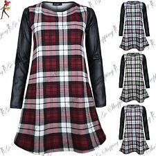 Unbranded Polyester Checked Long Sleeve Dresses for Women