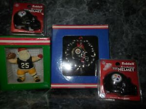 2 pittsburgh steelers ornaments 1 santa 1 pewter/2 pocket size riddell helmets