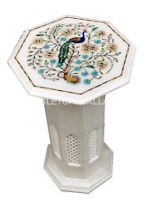 "1' Marble Coffee Table Top With 18"" Stand Peacock Floral Inlay Home Decors W075"