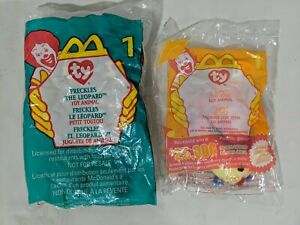 Lot of 2 Sealed Tag Error McDonald's TY Beanie Babies Freckles 1999 Lips 2000