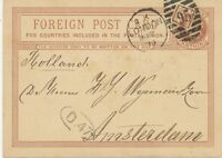 2427 1879 QV 1 1/4d brown VF foreign postcard Duplex-cancel LONDON / 95 HOLLAND