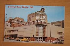 Rare Vintage Photograph Postcard GREYHOUND BUS STATION Omaha Greetings From 1965