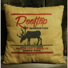 """New REINDEER PILLOW North Pole Christmas Primitive Country Throw 12"""" Complete"""