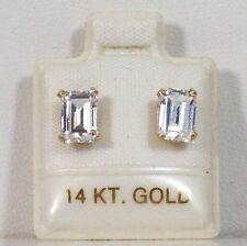 I4K Gold With CZ Bagget Shape Earrings 5 x 7mm. J0027