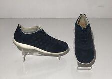Geox Denim Blue Suede Sneakers Mens Sz 10 No Tie Lace Casual Italian Shoe