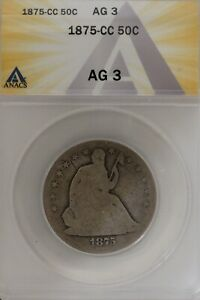 1875-CC  .50   ANACS   AG 3  1800's Half Dollar, Liberty Seated Half