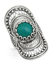 Made in Turkey New Cocktail Ring W/Created Turquoise in 925 Sterling Silver