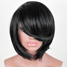 Women's Short Straight Black Fake False Hair Heat Resistant Synthetic Wigs + cap