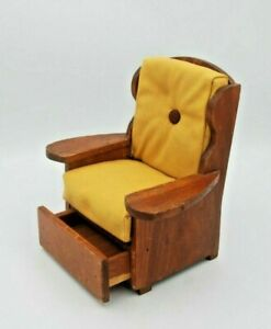 "Vintage Wooden Doll Armchair with Storage Drawer for 11"" doll"