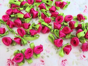 100 Satin Ribbon Rose Flower Leaf 10mm Applique/trim/craft/Hot Pink F78-Fuchsia