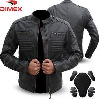Genuine Leather Motorbike Motorcycle Jacket Black Biker With CE Armour Black