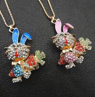 Women's Pink/Blue Enamel Crystal Carrot Rabbit Pendant Betsey Johnson Necklace