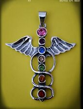 Caduceo Sumerio Anunnaki pendant chakras wings silver plata 925 ml  Swarovski