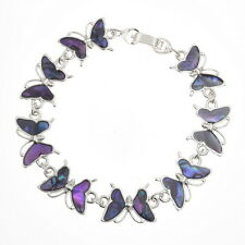 Purple Inlaid Paua Shell Butterfly Chain Silver Bracelet