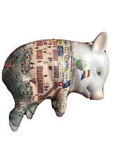 New listing Vintage Chinese Japanese Ceramic Porcelain Hand Painted Sleeping Pig Figurine