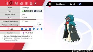 Ultra Shiny 6IV EV Trained Adamant Overgrow Decidueye Pokemon Sword/Shield