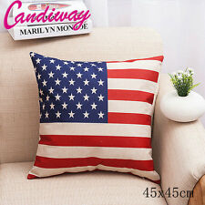 USA Flag Cotton Linen Throw Pillow Case Cushion Cover United States of America