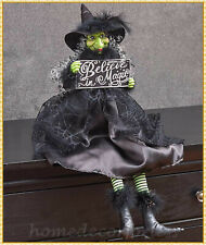 Halloween WITCH Doll Shelf Sitter w/ Sign BELIEVE IN MAGIC Tabletop Mantel Decor