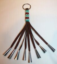 """Authentic Native American Seed beads on Leather With Jingles Keychain 8.5"""" long"""